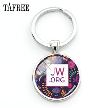 TAFREE New 2018 JW.ORG keychain Jehovah's Witnesses JW Pendant Glass Photo Cabochon Keyring Car Key Charms Holder Llavero QF77(China)