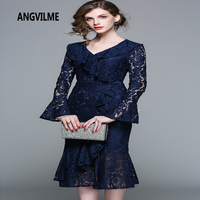 ANGVILME New 2018 Spring High Quality Dark Blue Sexy Ruffles Dress Flare Sleeve Trumpet Female Party