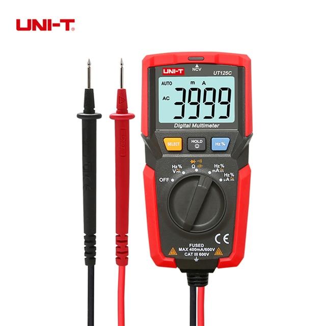 US $20 71 26% OFF|UNI T UT125C Pocket Size Digital Multimeter AC/DC Voltage  Tester Resistor Capacitor Frequency Diode NCV Test Low Voltage Display-in