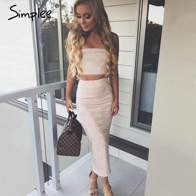 Simplee Sexy off shoulder suede women dress Two-piece suit high waist maxi dress Vintage bodycon dress party vestidos