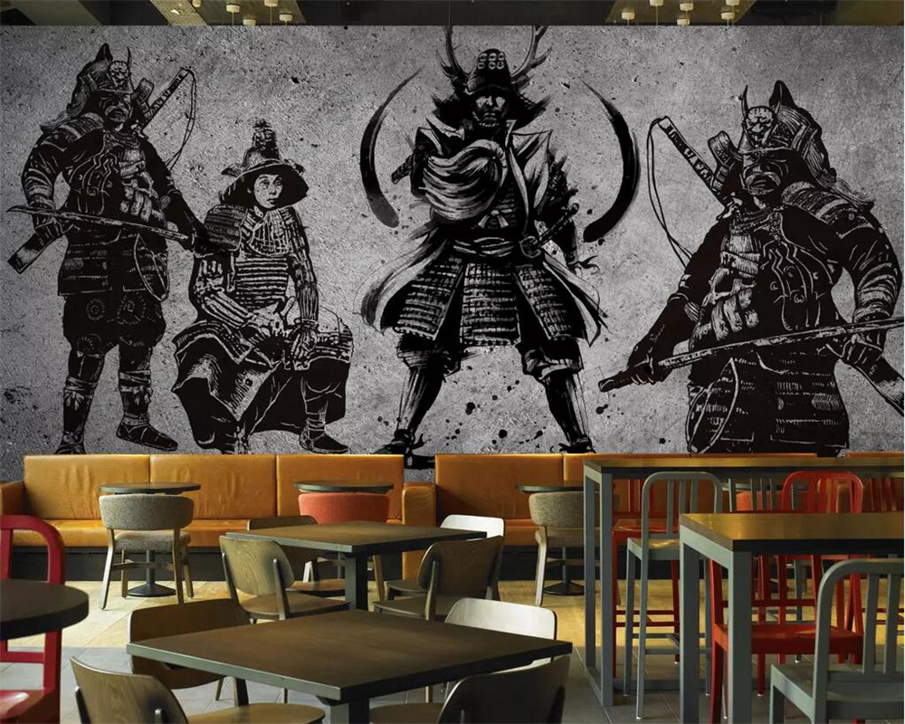 Купить с кэшбэком beibehang Custom wallpaper large high-end retro hand-painted Japanese Samurai cement wall Japanese restaurant mural wall