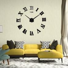 DIY Wall Sticker Clock 3D Big Mirror Clock Wall Stickers 2017 New Home Decoration Modern Design Wall Clocks Wall Sticker