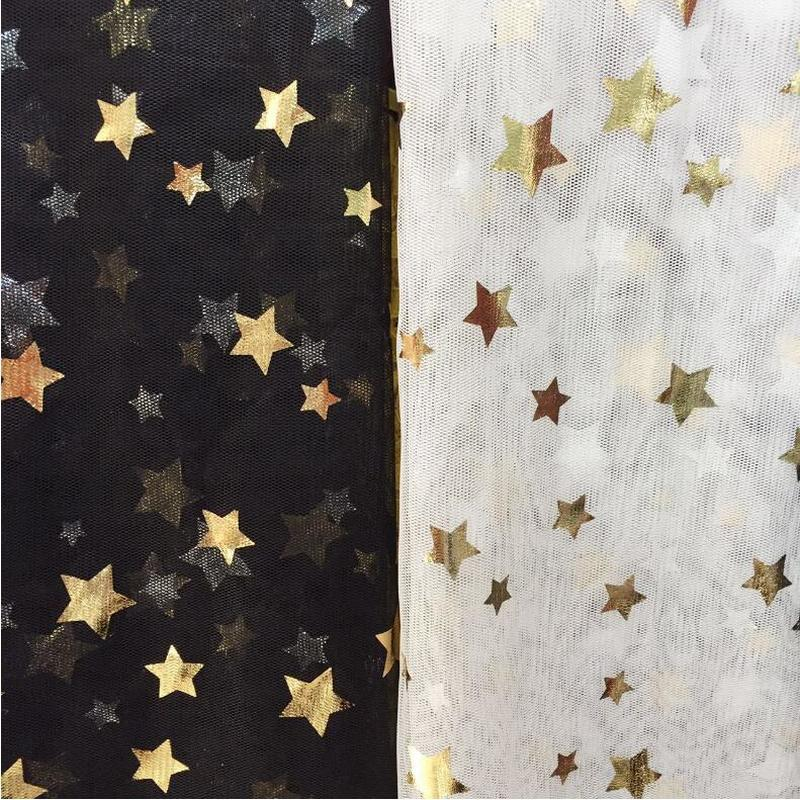5 Yard lot Multicolor Soft Mesh Tulle Fabric Golden Sliver Star Glitter for Making Bobbi Dolls Acting Clothes DIY Wedding Decor in Fabric from Home Garden