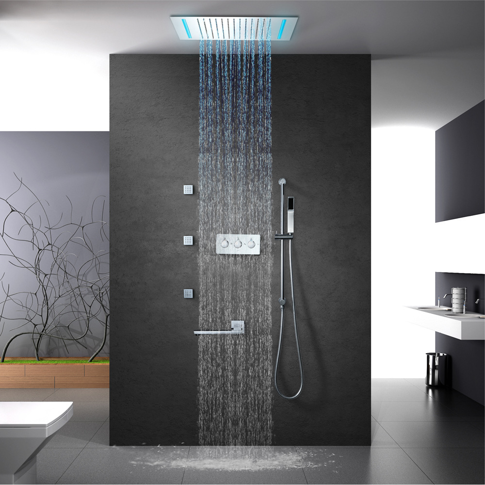 16 Colors Shower Panel Rainfall Shower Screen Remote Control LED ...