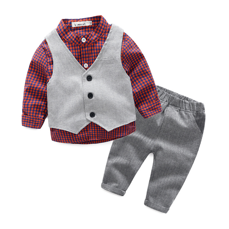 gentleman baby boy clothes wedding kids clothes shirt+vest+pants 3pcs/set baby boy clothing set 2018 spring newborn baby boy clothes gentleman baby boy long sleeved plaid shirt vest pants boy outfits shirt pants set