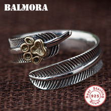 BALMORA Real 925 Sterling Silver Feather & Dog Paw Finger Rings for Women Men Party Gift Resizable Ring Fashion Jewelry SY21494