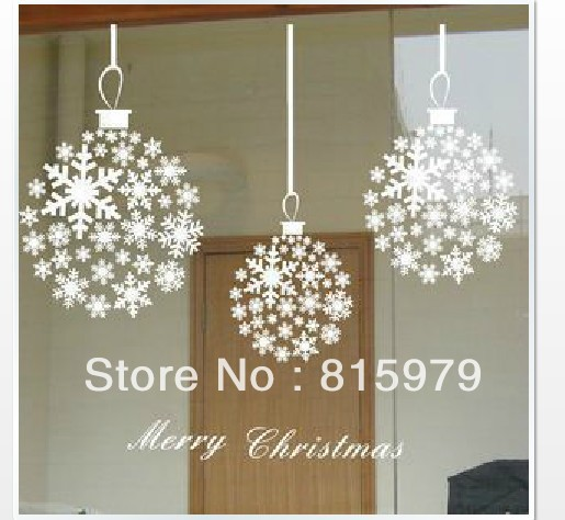 Christmas Snowflakes Christmas Balls Hanging Chain Wall Decals Affixed To  The Window Glass Facade Wall Stickers