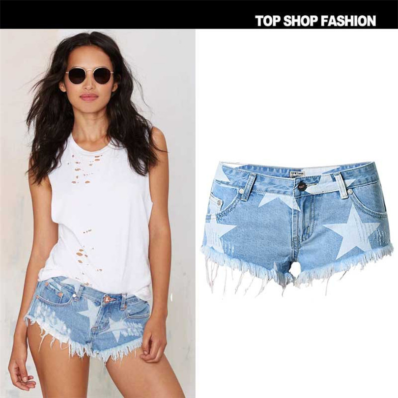 Liva girl Europe 2017 Beach Resort Club wind Couture Mini shorts denim shorts sexy fashion star