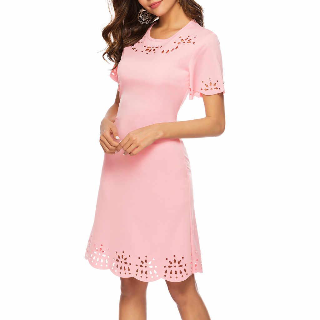 무료 타조 여성 드레스 짧은 소매 탄된 가방 힙합 핑크 무릎 길이 캐주얼 이동 고귀하고 우아한 여름 새로운 도착 드레스