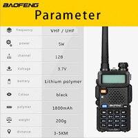 """רדיו ווקי טוקי (2 PCS) Baofeng UV5R Ham שני הדרך רדיו טוקי ווקי Dual-Band מקמ""""ש (שחור) (5)"""