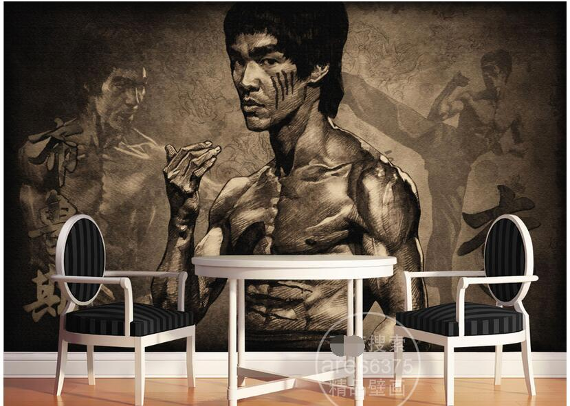 Custom photo 3d room wallpaper Non-woven mural picture Nostalgic Bruce lee TV wall decoration painting 3d wall murals wallpaper