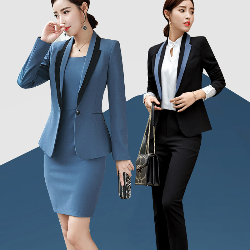 Осень Бизнес Casual2 шт наряды для Для женщин с длинным рукавом Короткая юбка