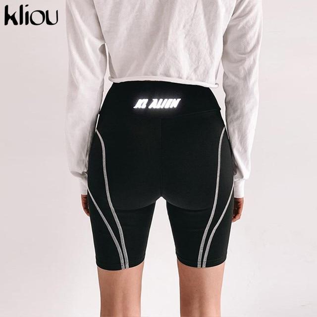 Kliou ผู้หญิงกางเกงขาสั้นสะท้อนแสงพิมพ์สูงเอวด้านล่าง 2019 ฤดูร้อน BIKER กางเกงขาสั้น Beach เสื้อผ้า