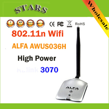 Высокая Мощность АЛЬФА AWUS036H 1000 МВТ WIFI Беспроводной Сети USB Адаптер 5DB Антенна с RL3070Chipset, Оптовые Dropshipping