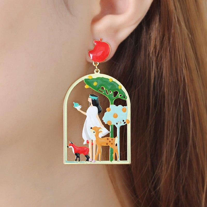 2018 New Cartoon Princess Deer Tree Bird Earrings For Women Enamel Glaze Statement Luxury Drop Earrings Party Jewelry long chain enamel bird shape drop earrings