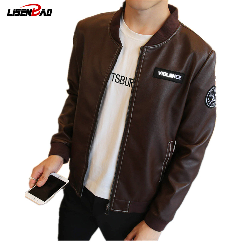 Size M 4XL Men s Black PU Faux Leather Jacket Men Cotton Hooded Casual Motorcycle Biker