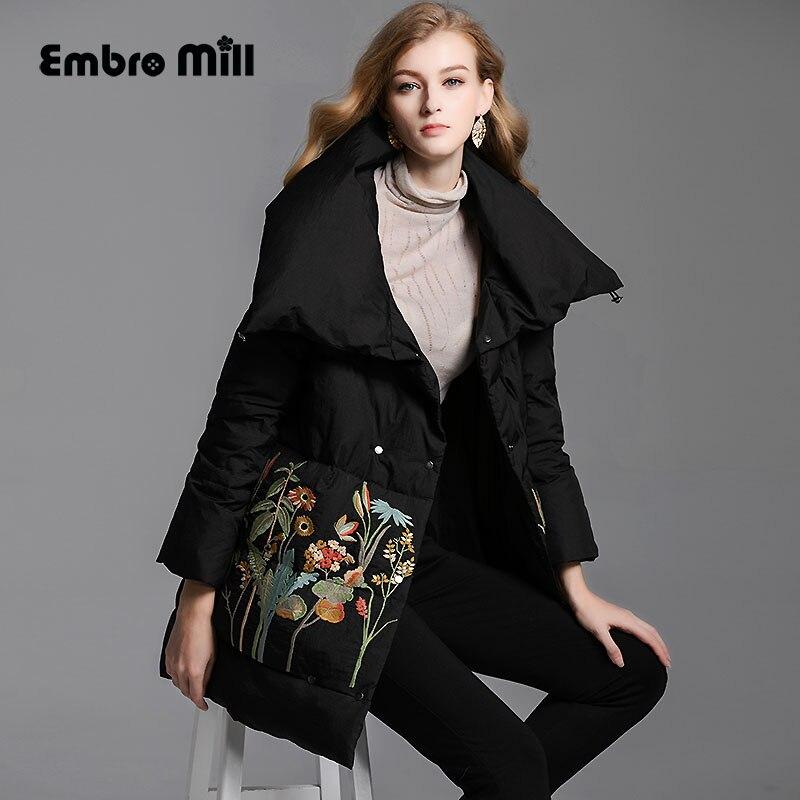 Retro Down Jacket coat women winter flowers vintage lady floral loose White duck Down   Parkas   female M-XXL