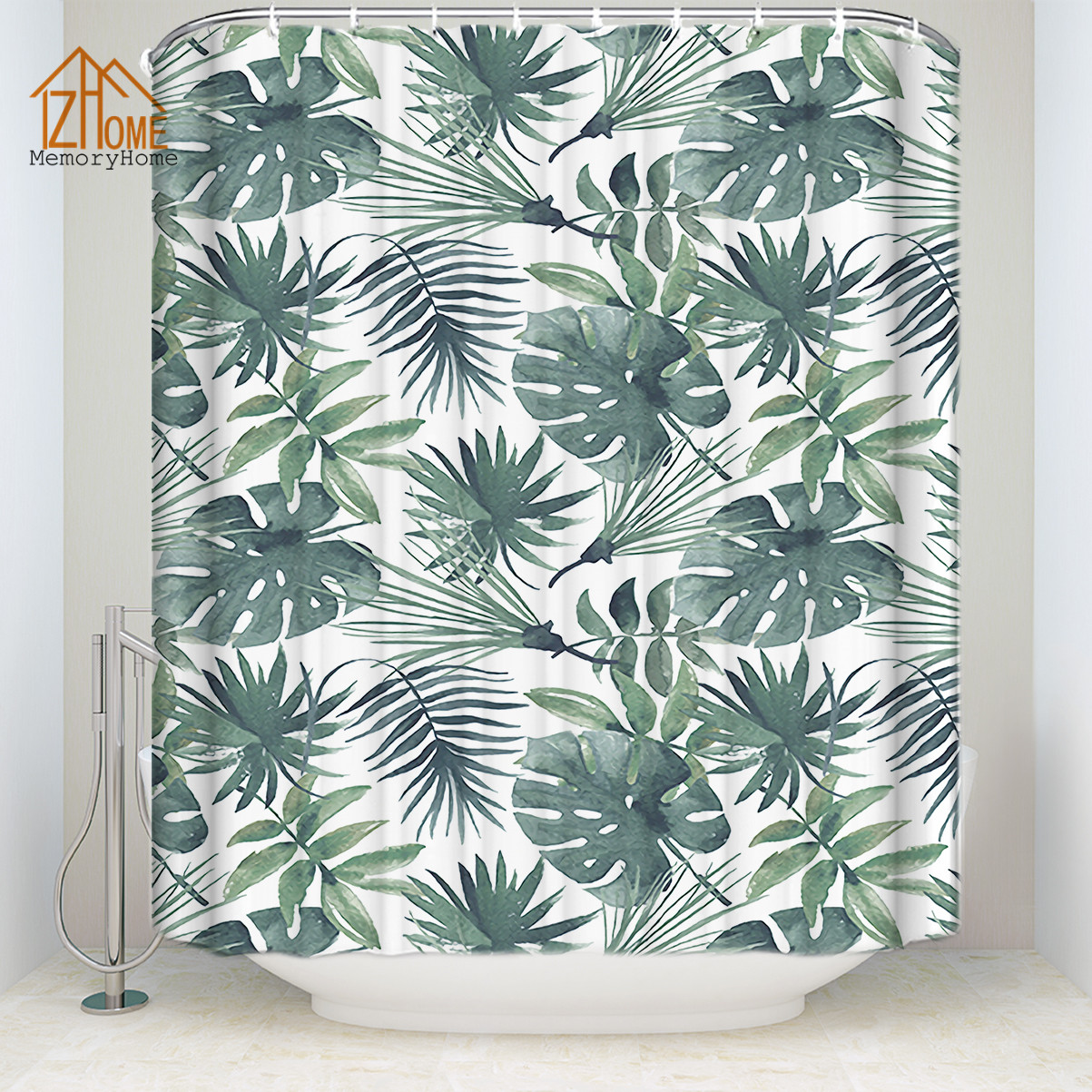 Memory Home Fresh Banana Leaves Shower Curtain Waterproof Polyester ...