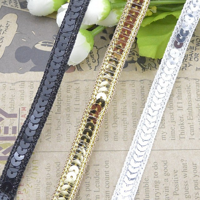 b770400e9a21 100metres Sequins Ribbon Lace For Dancing Costume Stage Garments Decoration  Hat Embellishments Gold Lace Trim Sewing Material