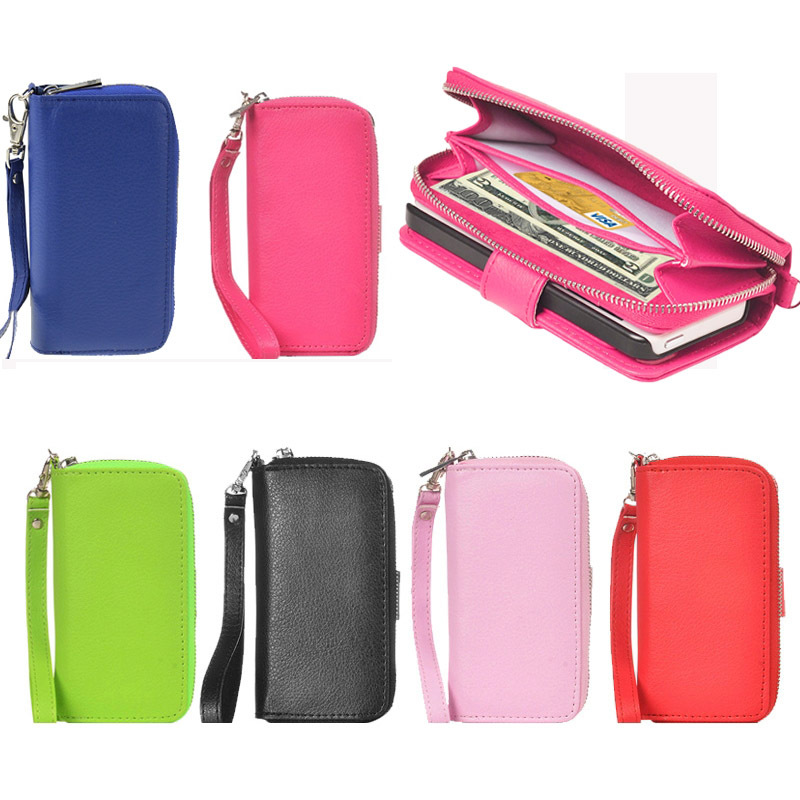 new concept f8824 ce9a1 US $8.72 |Luxury 2 in 1 Mobile Phone Zipper Wallet Leather Case for iPhone  5 5S with Lanyard Buckle Bags Cover with Card Holder on Aliexpress.com | ...