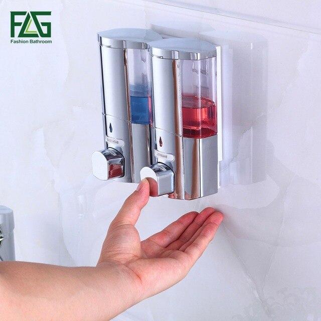 Montado en la pared ba o ducha dispensador de jab n doble for Dispensador de jabon para ducha