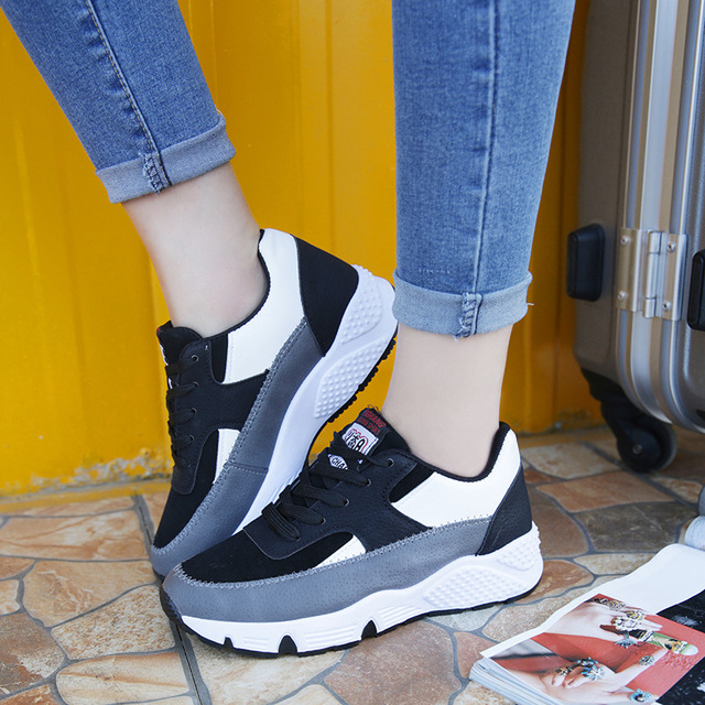 2017 Korean Women Casual Shoes Woman Height Increasing Shoe Platform Wedges Thick Bottom Zapatos Mujer Elevator Schoenen