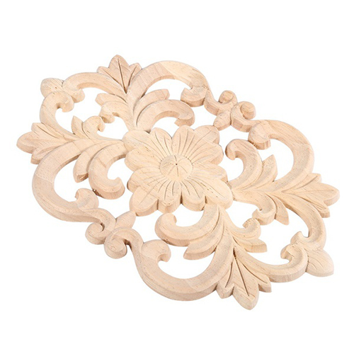 fjs1x rubber wood carved onlay applique unpainted furniture for home door cabinet decoration wood