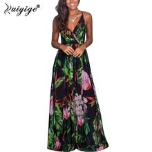 Ruiyige 2019 Summer Long Maxi Floral Dress Print Boho Beach Dress V-Neck Spaghetti Strap Dress Tunic Maxi Dress Women