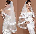 Hot SellCharming Bridal Veil Wedding Ribbon Satin Trim Edge 2 Layer White Free Shipping Wedding Veil  veu de noiva longo