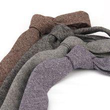 TieSet Good Quality Wool Neck Ties For Men 6cm Skinny Solid Necktie Narrow Gravata Party Wedding Business Office T-141