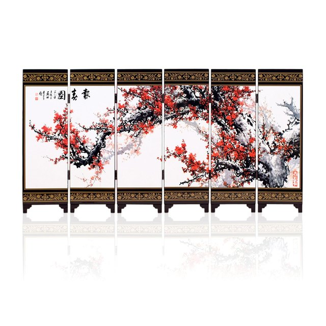 Free Shipping 6 Panels Spring Landscape Paintings Chinese Silk Screen Vintage Mini Screenbusiness Sovenir Party Gifts