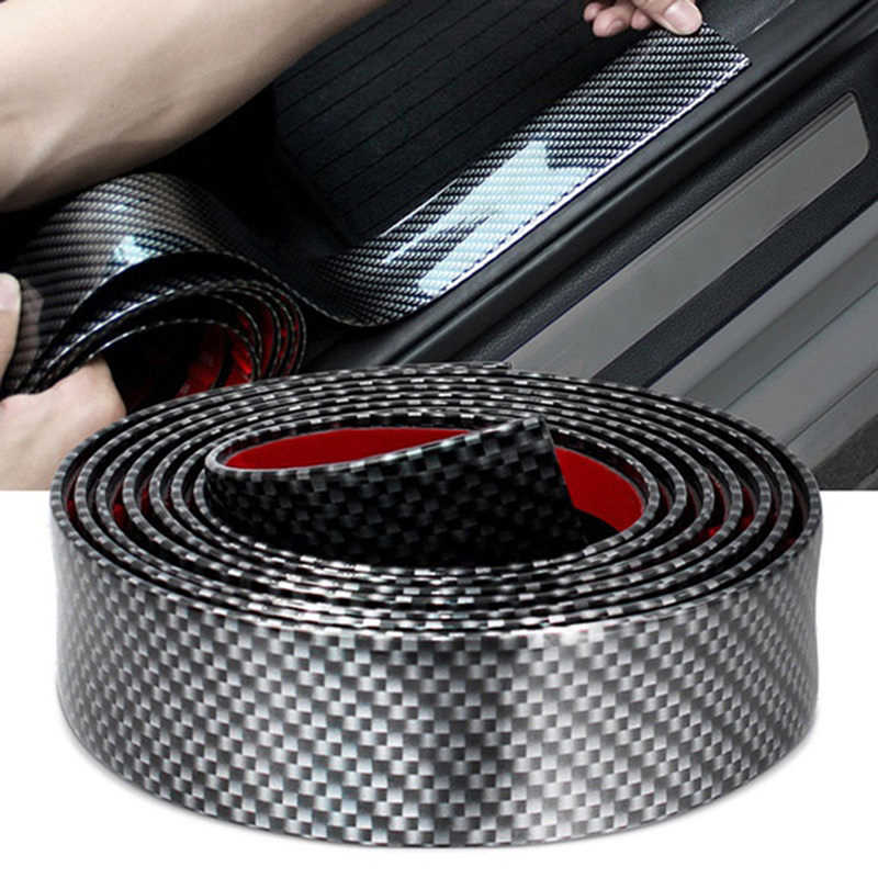 1M 3cm /5cm / 7cm/ 10cm Door Sill Protector Car Stickers Carbon Fiber Rubber Styling Door Sill Protector Goods Accessories