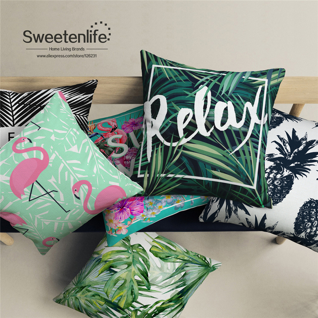 ON SALE Tropical Plant decorative pillows Red Crane And Pineapple
