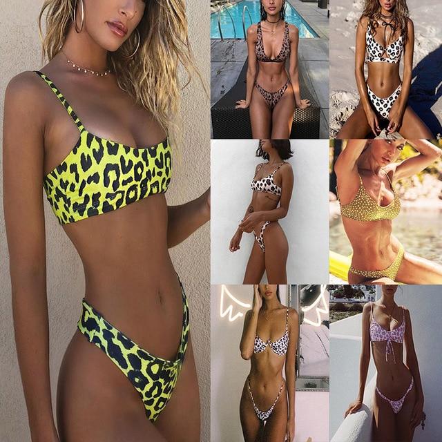 fd7652203 Sexy High Waist Leopard Bikini Set Swimwear 2019 Women Push-up Padded  Triangle Bikini Swimsuit Bathing Suit Brazilian Biquini
