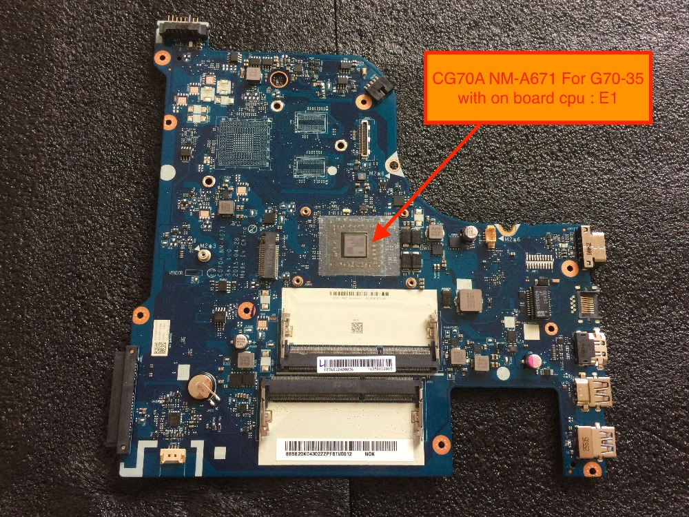 Brand New CG70A NM-A671 Mainboard for Lenovo G70-35 laptop Motherboard with AMD E1 on board cpu