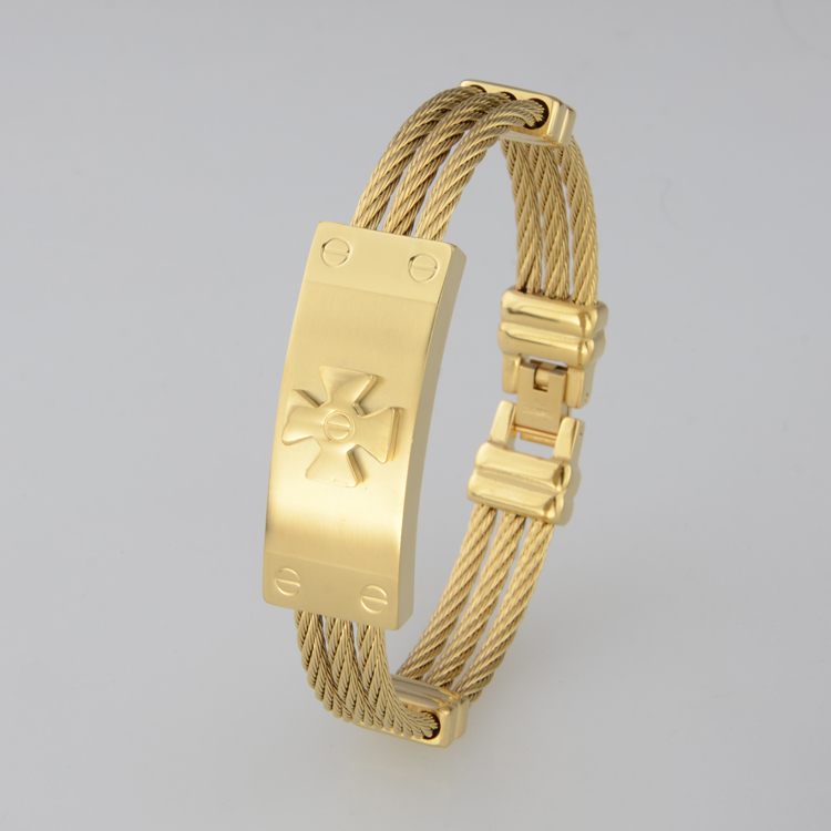 ccf74bc28b77 Full Gold Plated Men s Bracelets Bangles Stainless Steel Twisted Wire Charm Famous  Brand Men Jewelry