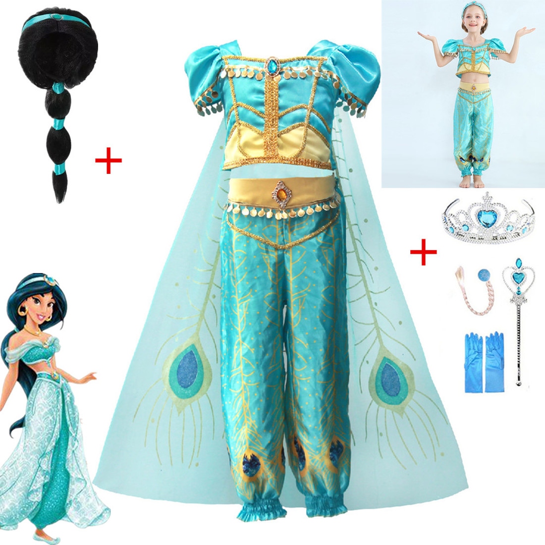 2019 Christmas Children's Dress Aladdin's Lamp Cosplay Halloween Costume+wig Jasmine Princess Girl Dress Role Clothes Sets+gift