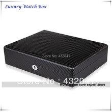 Черный углеродного волокна отделка 18 часы чехол для большие часы часы дисплей ящик для хранения организатор лучший подарок для отца GC02-TP-18