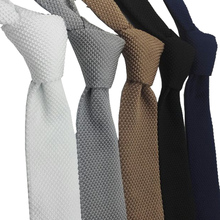 HUISHI Slim fashion Knitted ties for men 5.5 cm solid Black White Gray Blue Burgundy tie