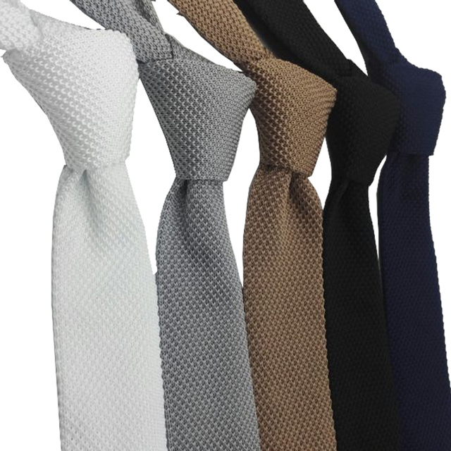 HUISHI Slim fashion Knitted ties for men 5.5 cm solid Black White Gray Blue Burgundy Knitted tie