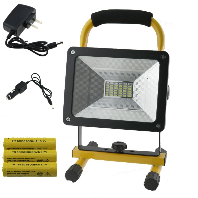 ФОТО Waterproof 30W 2400LM Floodlights Rechargeable 36 LED Flood Light Red/White/Blue Light Portable Spotlights for Outdoor Work Lamp