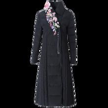 High end women down coat embroidery flower white duck down jacket warm parkas elegant female winter coat big sizes long slim цены онлайн