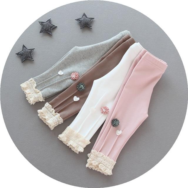 3-6 age girls lace pants children pants baby cotton All-match Leggings baby  slim pants skinny Children Clothing Girls winter