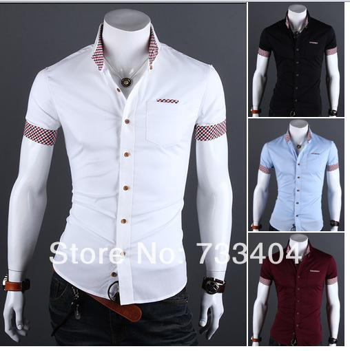 b8f9c36c 2014 Fashion Men Shirts Short Sleeve Turn Down Collar Single Breasted Casual  Plaid Pattern Men Cotton Shirts Free Shipping 9019-in Casual Shirts from  Men's ...
