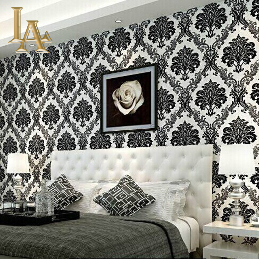 European embossed flocking black damask wallpaper 3d for Black and white vintage bedroom ideas