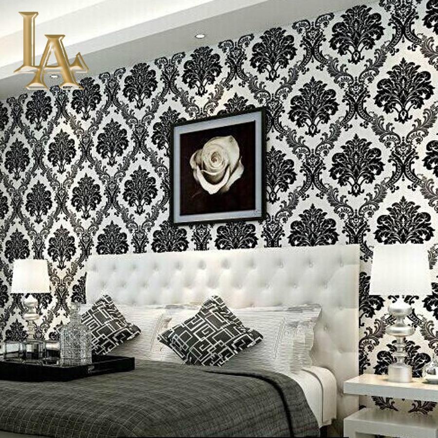 damask bedroom living luxury wall 3d decor paper modern european embossed flocking waterproof wallpapers pattern w14 rolls aliexpress alibaba per