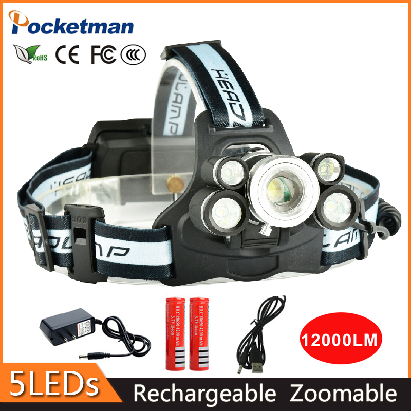 z35 LED Headlight Rechargeable Zoomable Headlamp Outdoor Camping Multi-purpose Bike LED Head Light For Batteries And Charger