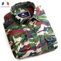 Langmeng algodón Hombre camisa de Los Hombres Camisa casual Militar Del Ejército Camo Camuflaje Ocasional Campo Mens outwear Shirts Moda 2016 Meisai