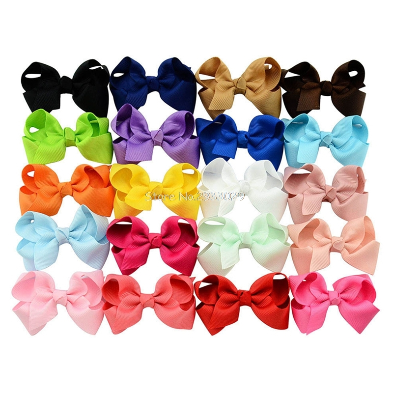 20pcs/lot Korean 3 Inch Grosgrain Ribbon hair Bows Accessories With Clip Boutique Bow Hairpins Hair Ornaments -B116 7 fashion boutique grosgrain ribbon organza breast cancer printed cheer bow with elastic hair bands for cheerleading girls