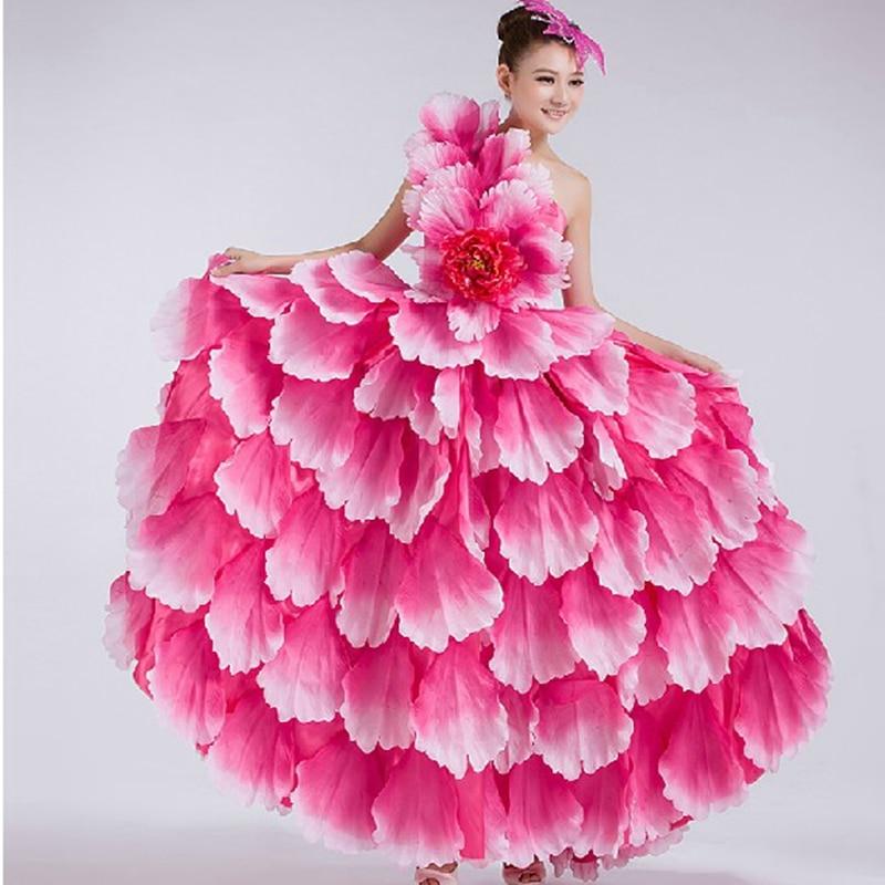 Flamenco Dance Dress Spanish Dance Costume Petal Spanish Flamenco Chorus Dress With Headdress Flower 540 360 Dropshipping